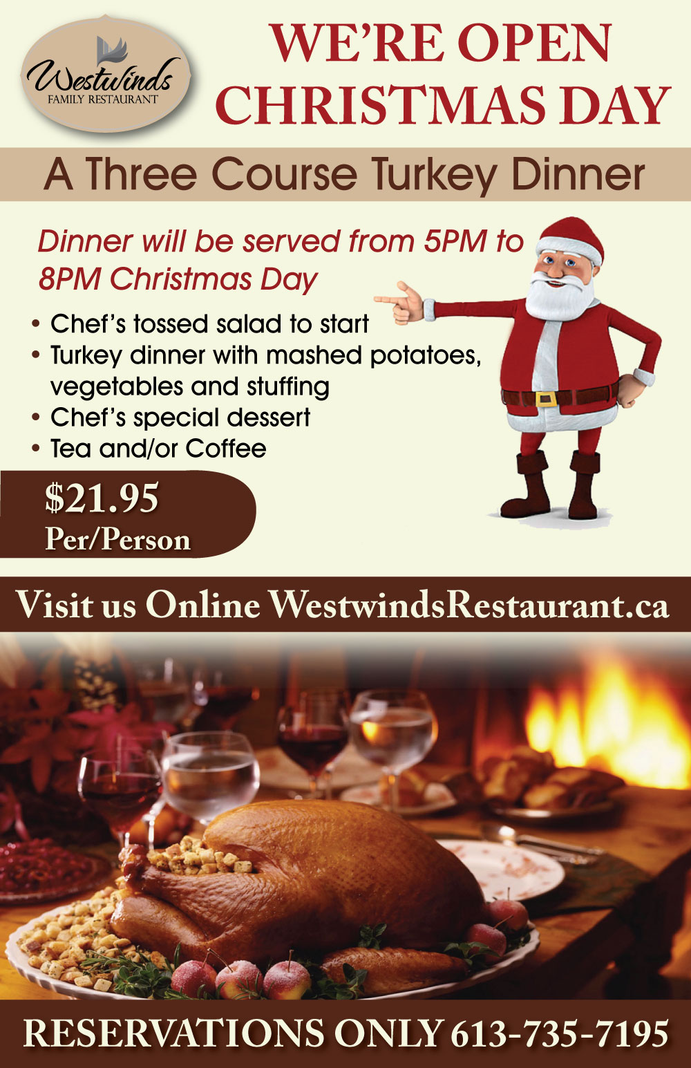 Westwinds is open christmas day for a festive feast for Restaurants open for christmas dinner