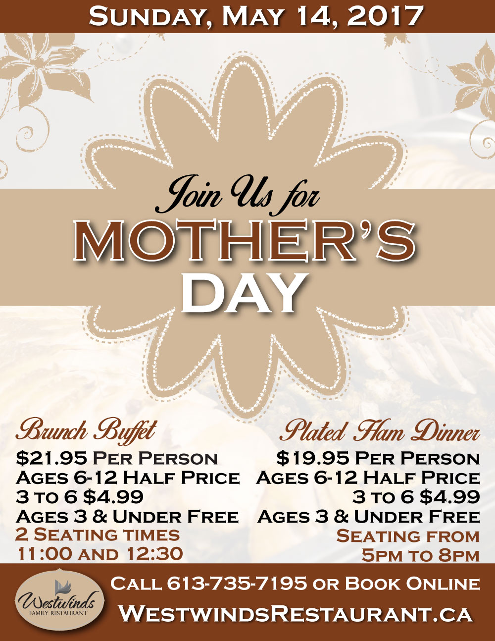 Treat Mom to Brunch or Dinner on Mother's Day