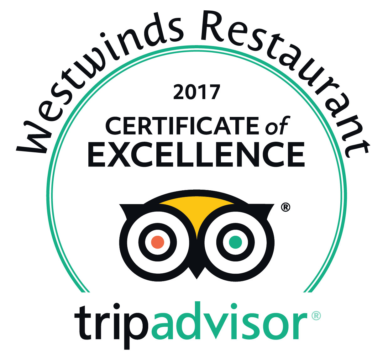 Westwinds Restaurant Certificate of Excellence on Trip Advisor